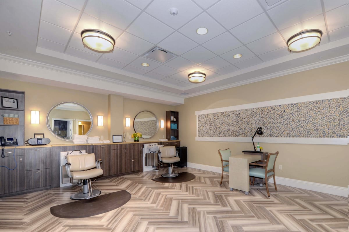 On-site salon at Beach House Assisted Living & Memory Care Naples in Naples, Florida