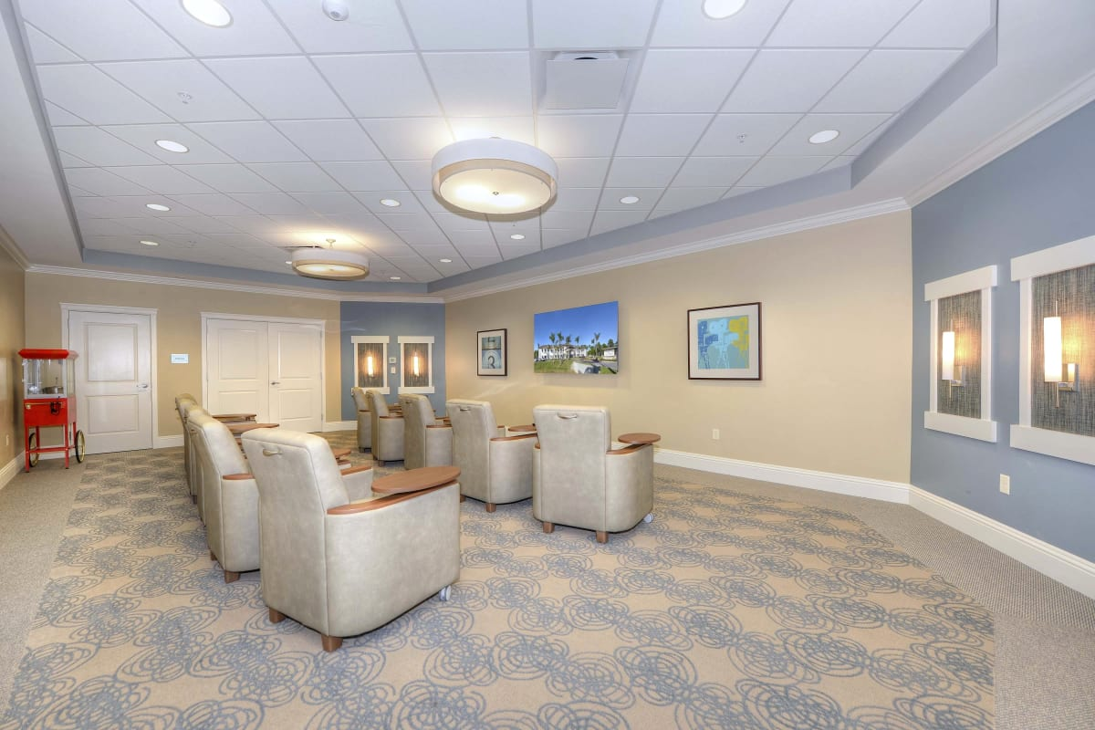 Tv room at Beach House Assisted Living & Memory Care Naples in Naples, Florida