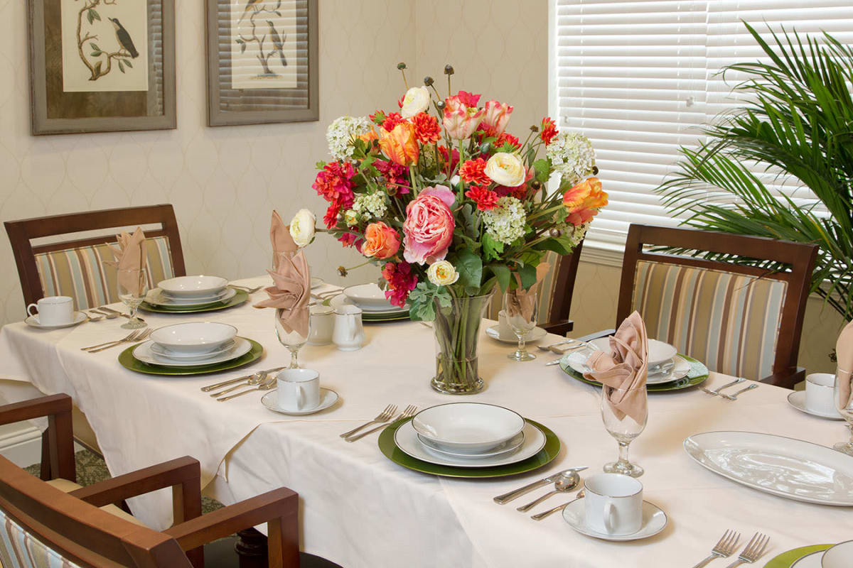 Decorated dining room tables at The Village of Meyerland in Houston, Texas