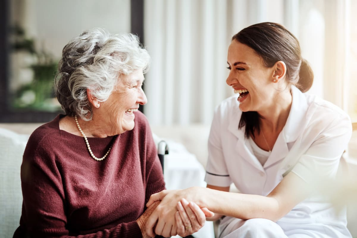 Resident and nurse at Weatherly Court in Medford, Oregon