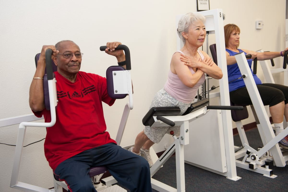 Residents exercising at Westmont Village in Riverside, California