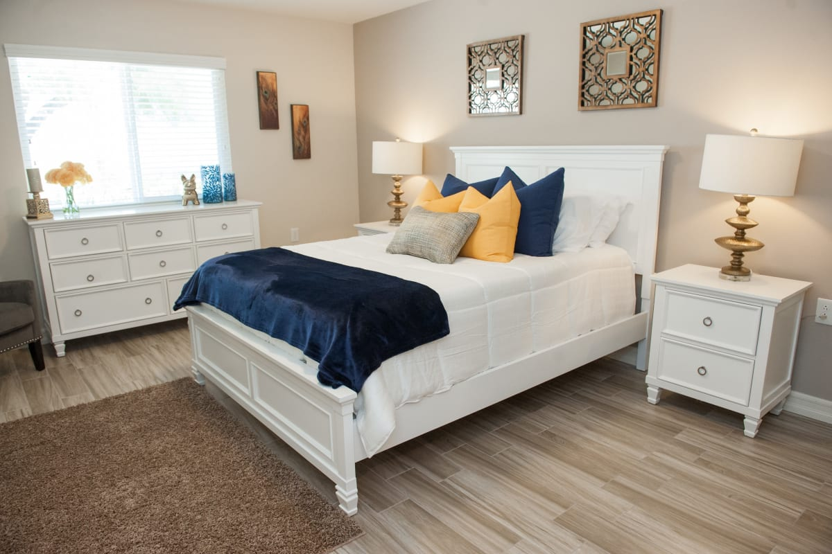 Beautiful bedroom at Westmont Village in Riverside, California