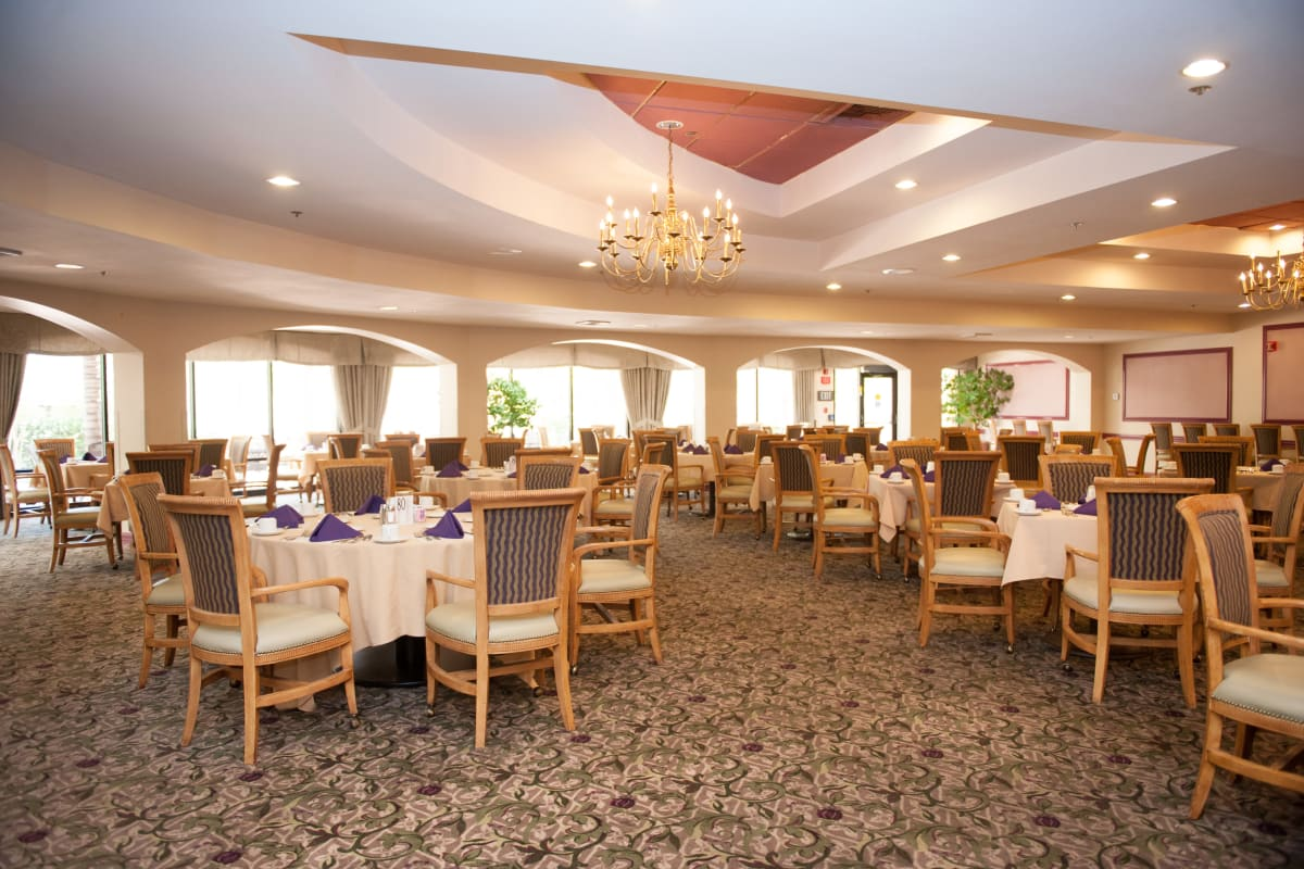 Beautiful dining room at Westmont Village in Riverside, California