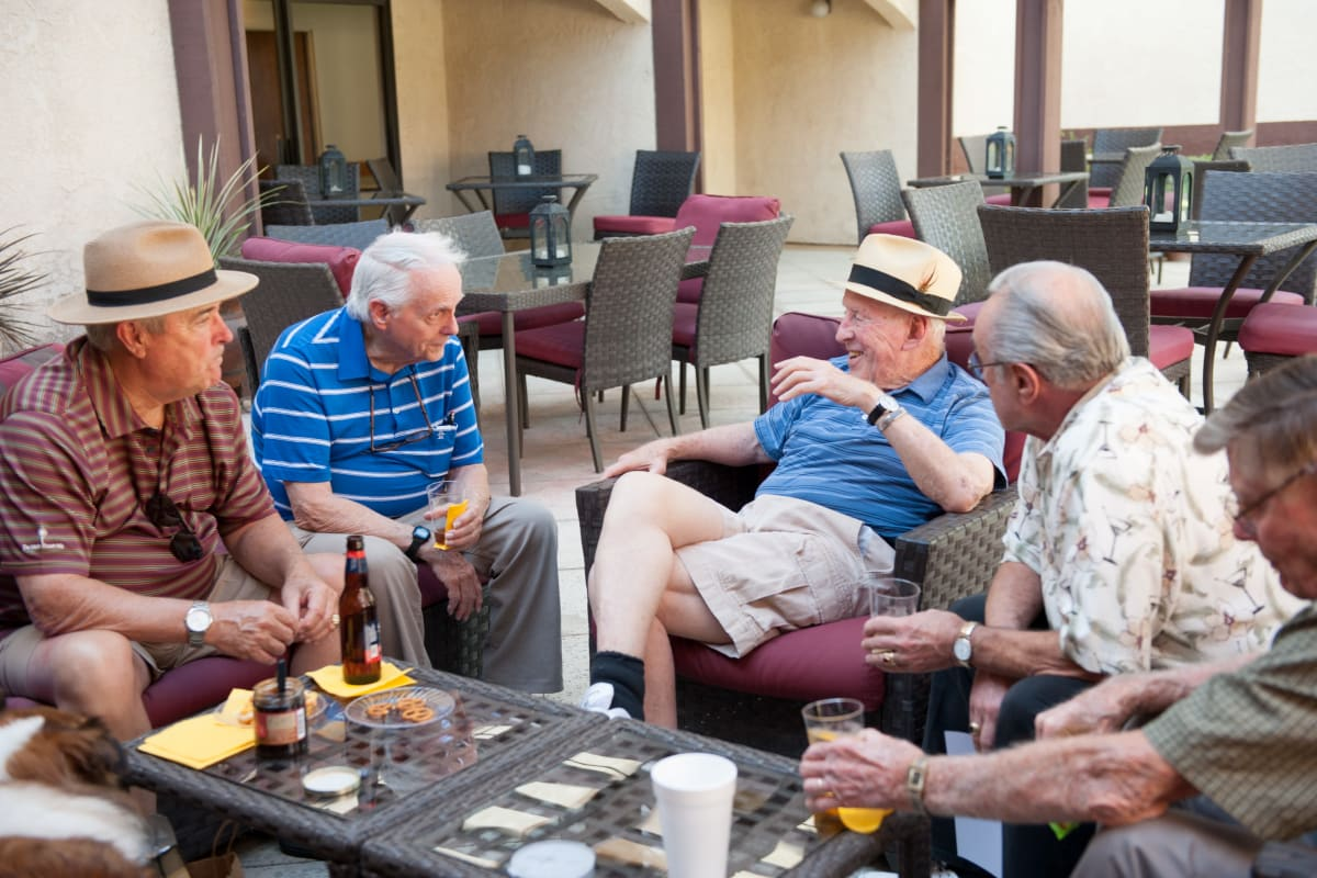 Residents enjoying beverages at Westmont Village in Riverside, California