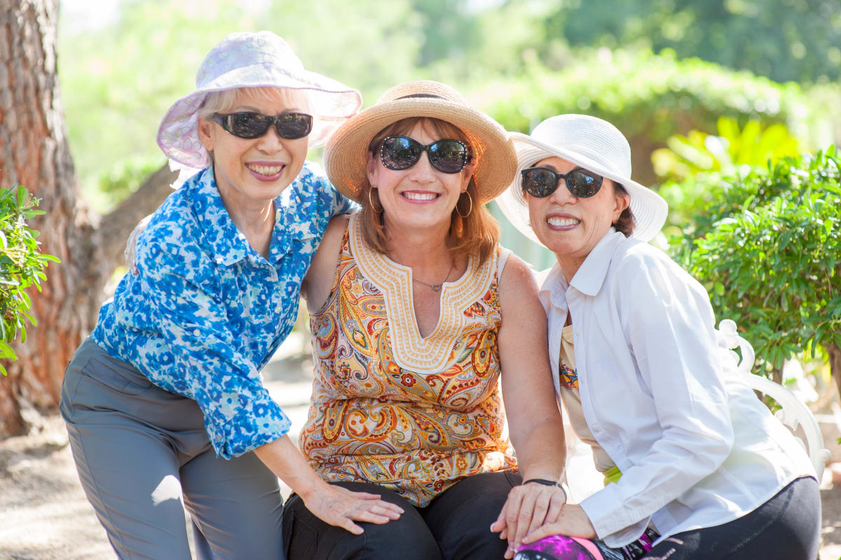 Friends enjoying the sunshine at Westmont Village in Riverside, California