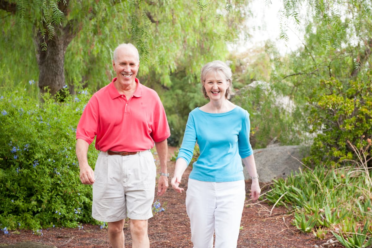 Couple walking near Westmont Village in Riverside, California