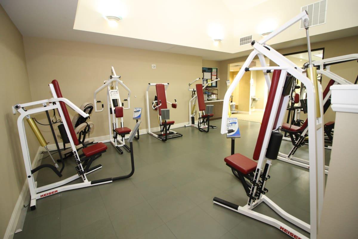 Fitness center at Prestonwood Court in Plano, Texas