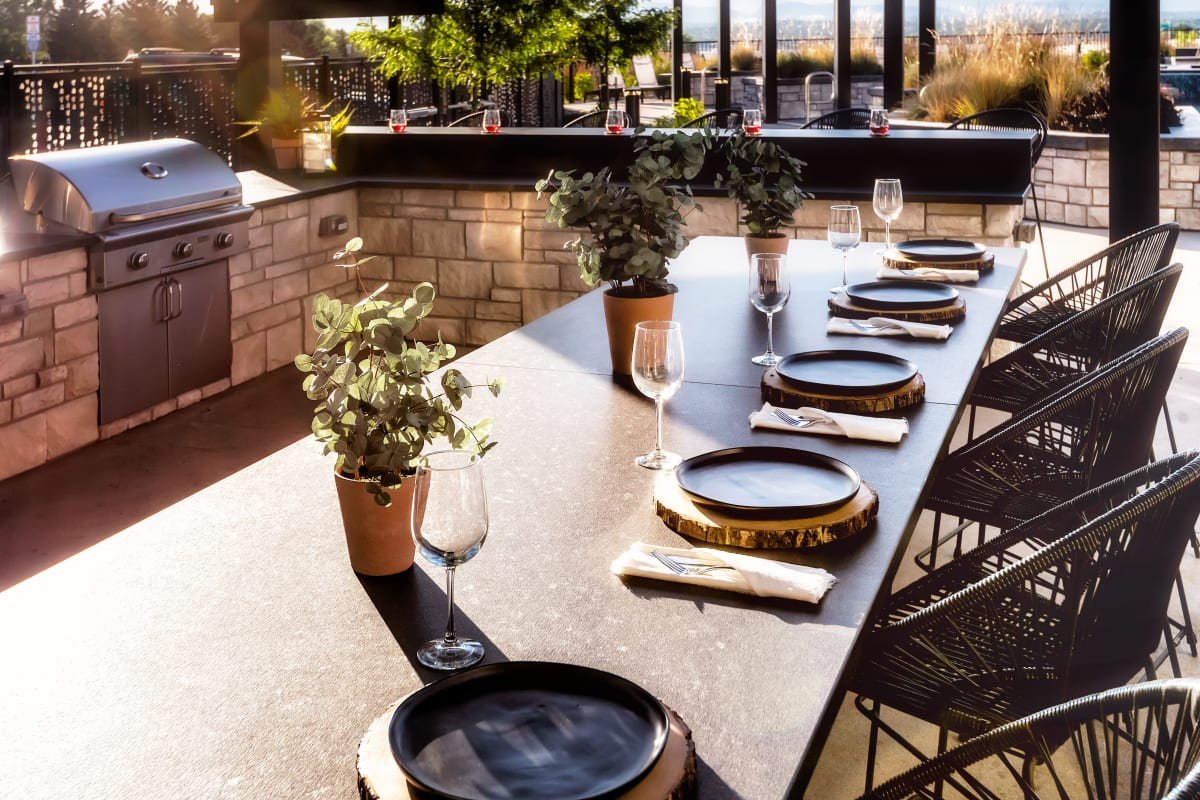 Outdoor dining lounge at Solana Lucent Station in Highlands Ranch, Colorado