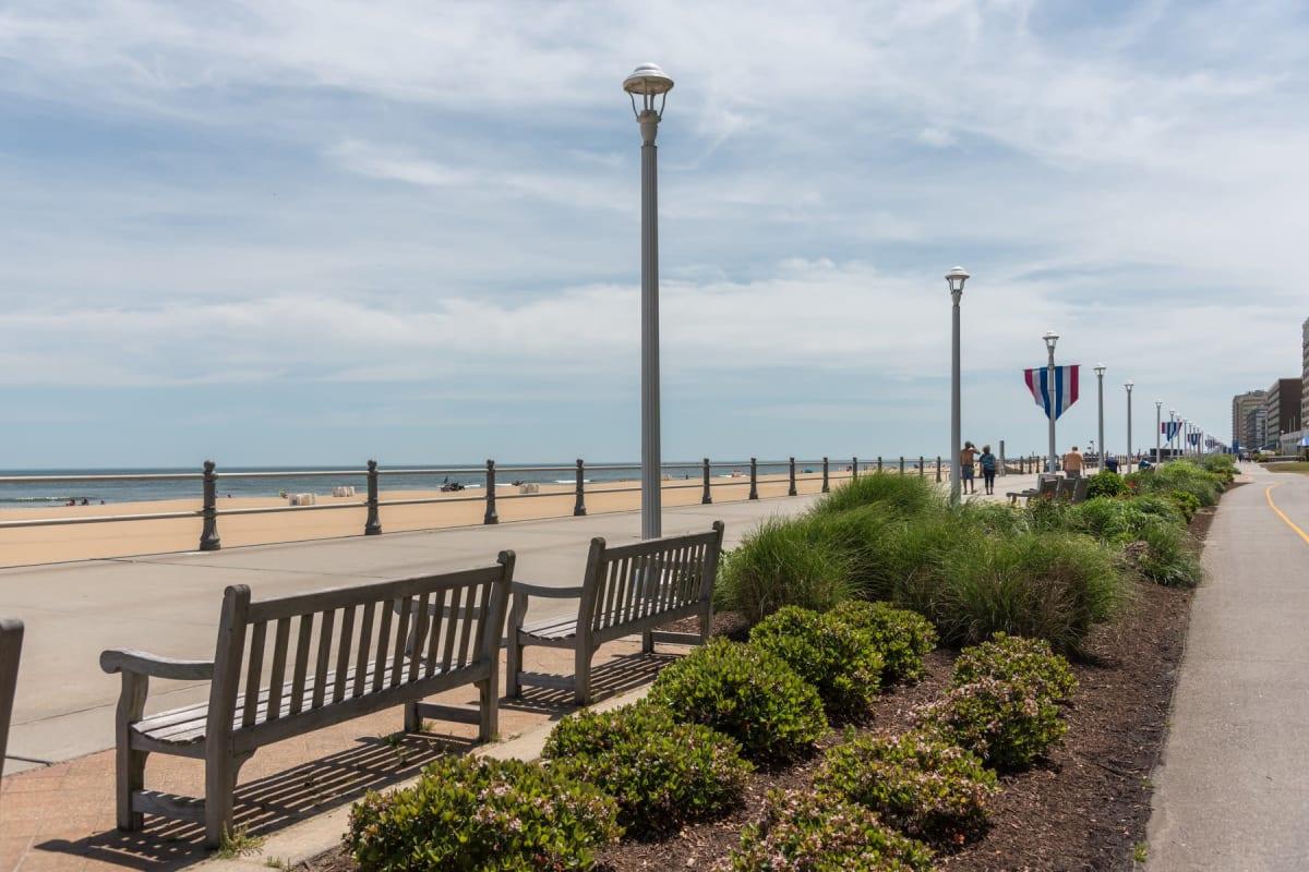 Park bench near the beach in Virginia Beach, Virginia near Indigo 19