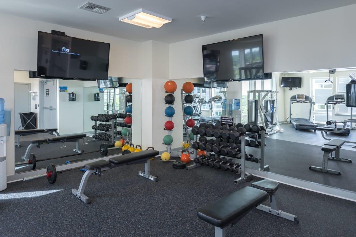 Fully equipped fitness center at Indigo 19 in Virginia Beach, Virginia