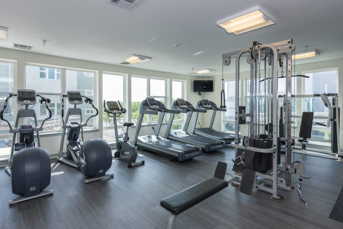 Fitness center for residents at Indigo 19 in Virginia Beach, Virginia