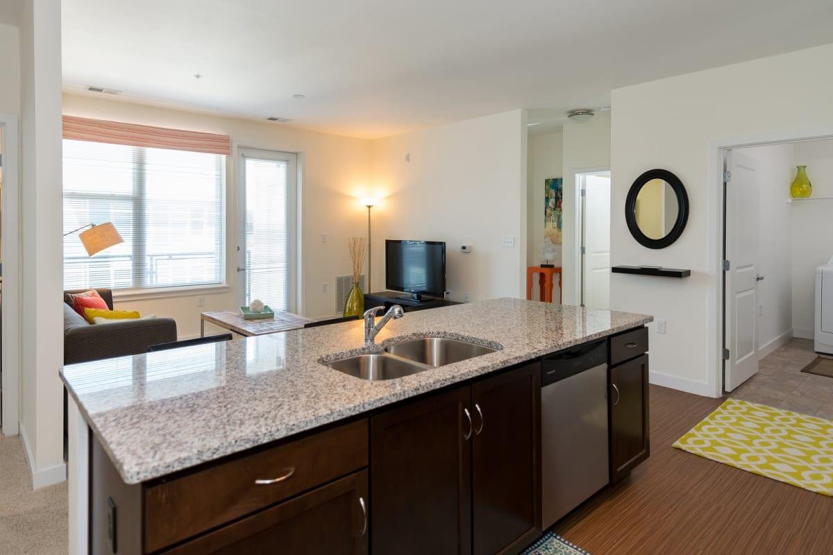 Bright kitchen with granite countertops at Indigo 19 in Virginia Beach, Virginia