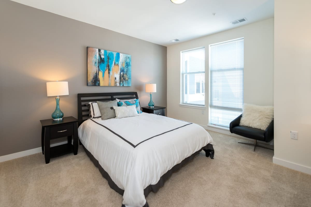 Well decorated master bedroom at Indigo 19 in Virginia Beach, Virginia