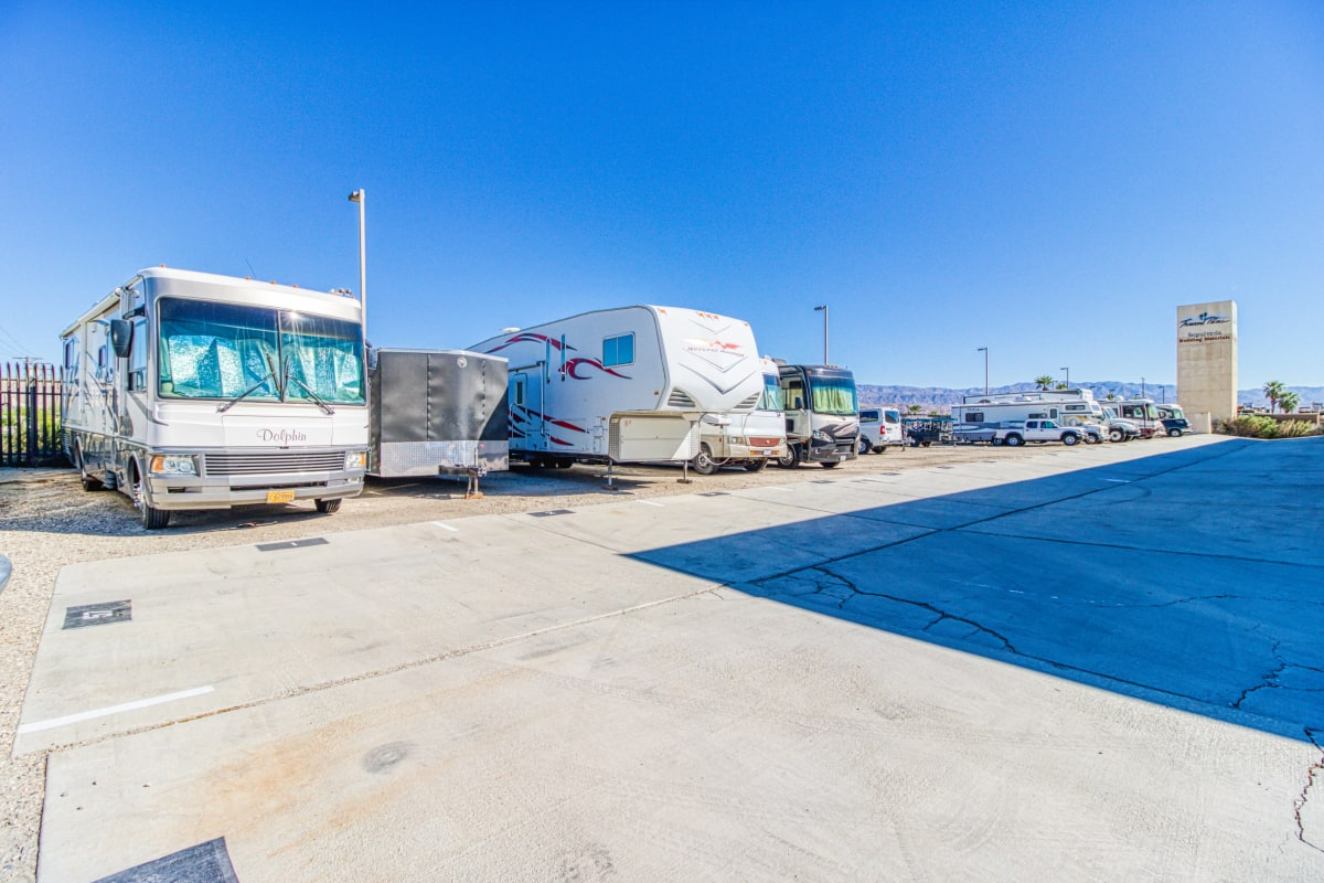 RV, auto and boat parking spaces in Thousand Palms, California at Devon Self Storage
