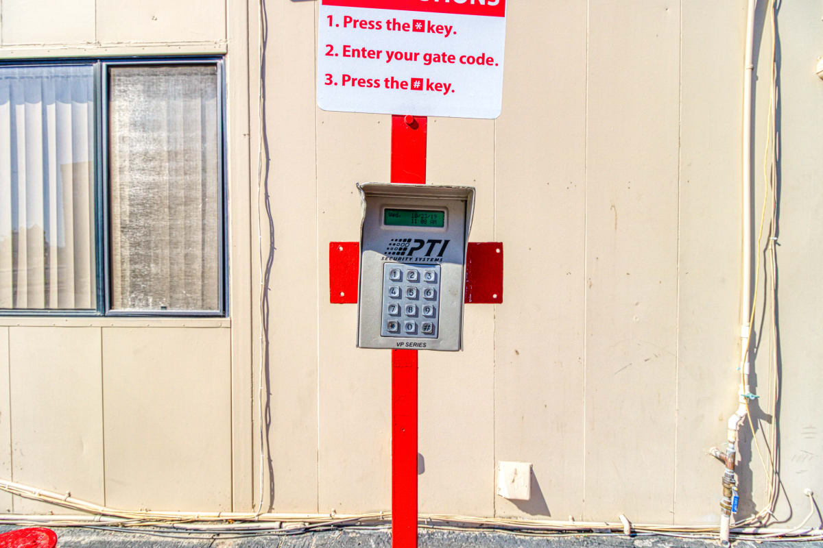 The keypad leading into the gated entry at Devon Self Storage in Cathedral City, California