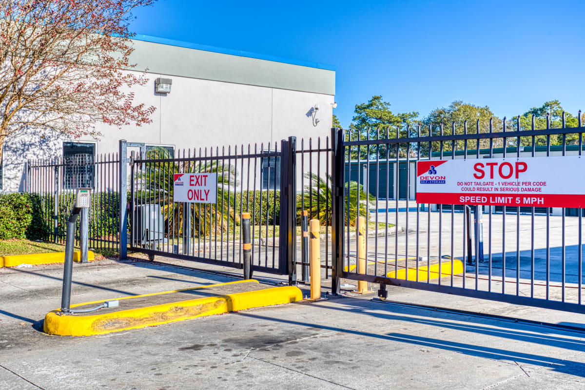Gated entry into RV, boat and auto parking in Spring, Texas at Devon Self Storage