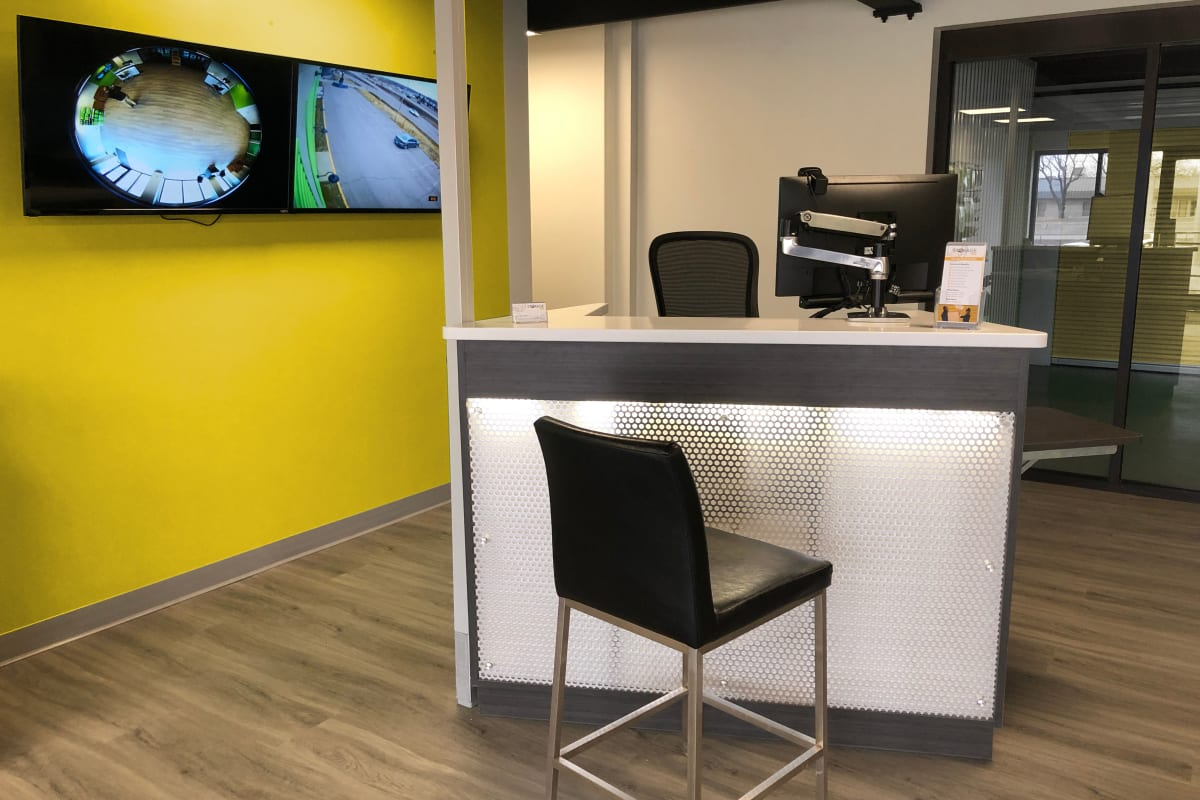 The leasing desk and security monitors at Storage 365 in St. Paul, Minnesota