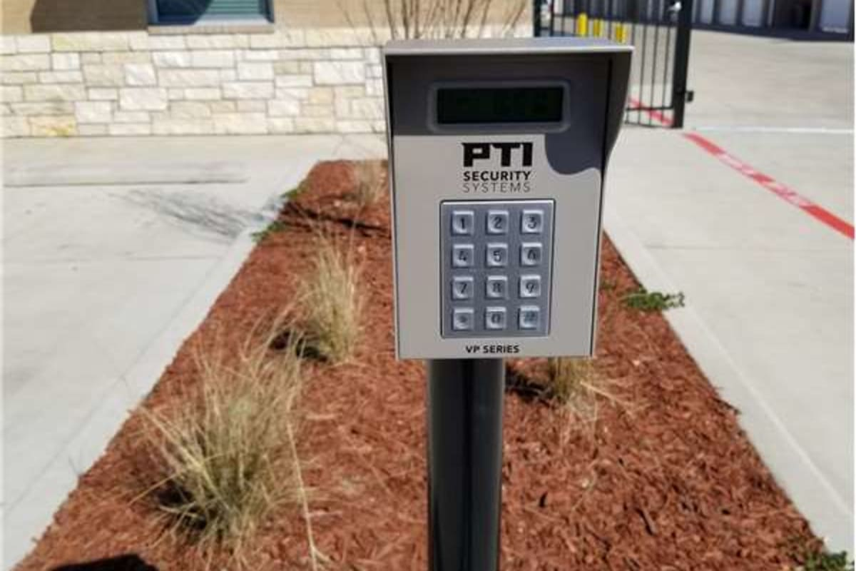 Electronic keypad entrance at Storage 365 in Arlington, Texas