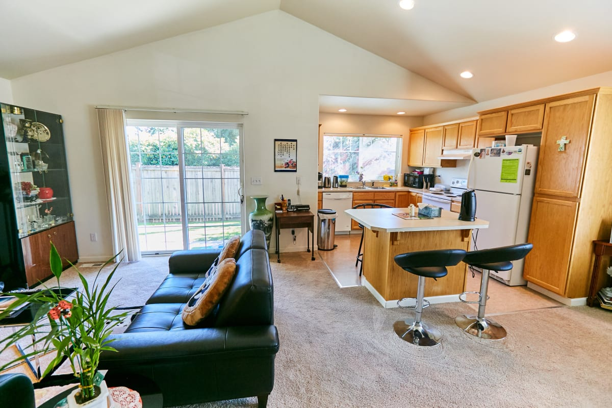 Furnished interior of a residents home at South Pointe in Everett, Washington