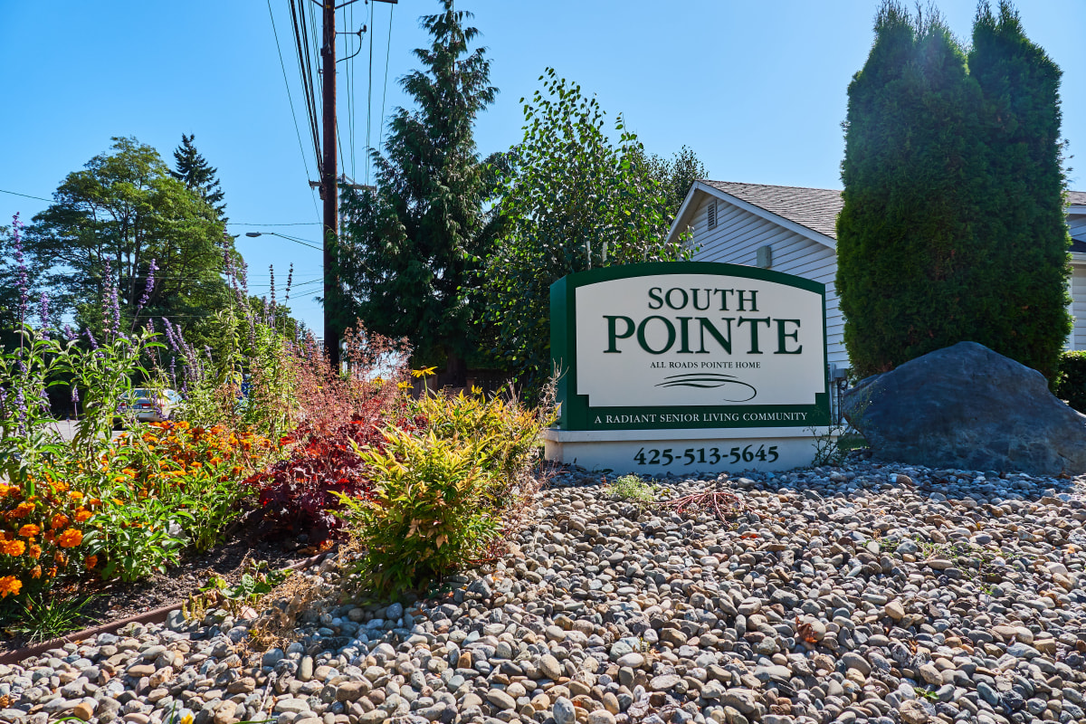 Signage and flowers out front at South Pointe in Everett, Washington