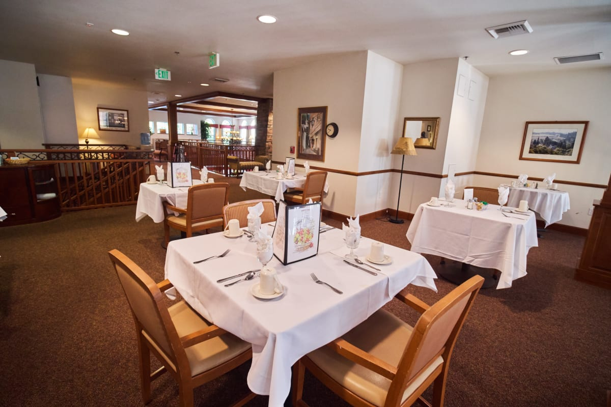 2nd floor dining hall at Pioneer Village in Jacksonville, Oregon
