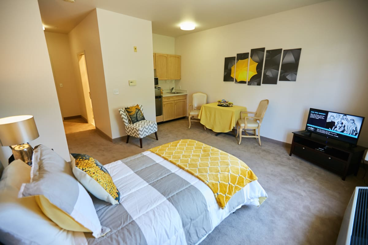 Studio memory care apartment with a kitchenette at Ashley Pointe in Lake Stevens, Washington