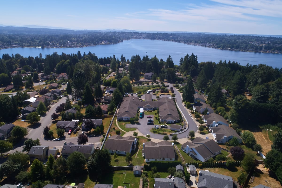 Aerial view of the full campus at Ashley Pointe in Lake Stevens, Washington