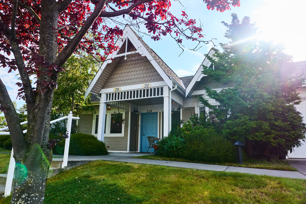 Duplex homes remote from the main building at La Conner Retirement Inn in La Conner, Washington