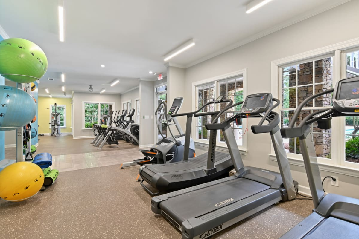 Well-equipped onsite fitness center at Crest at Riverside in Roswell, Georgia