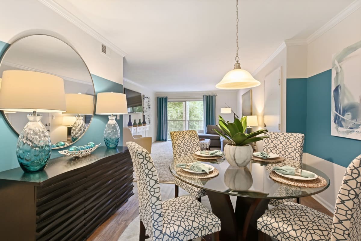 View of the living area from the dining nook of a model home at Crest at Riverside in Roswell, Georgia