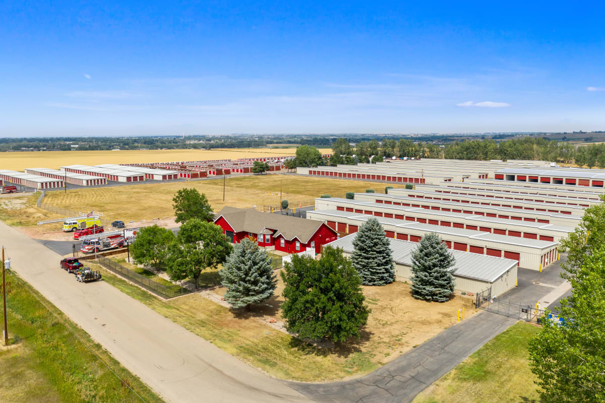 Aerial view of Firehouse Self Storage in Loveland, Colorado and surrounding area