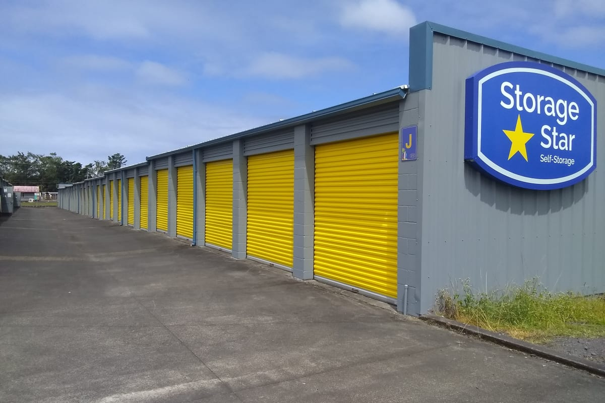 Branding and signage on the side of outdoor units at Storage Star Hilo in Keaau, Hawaii