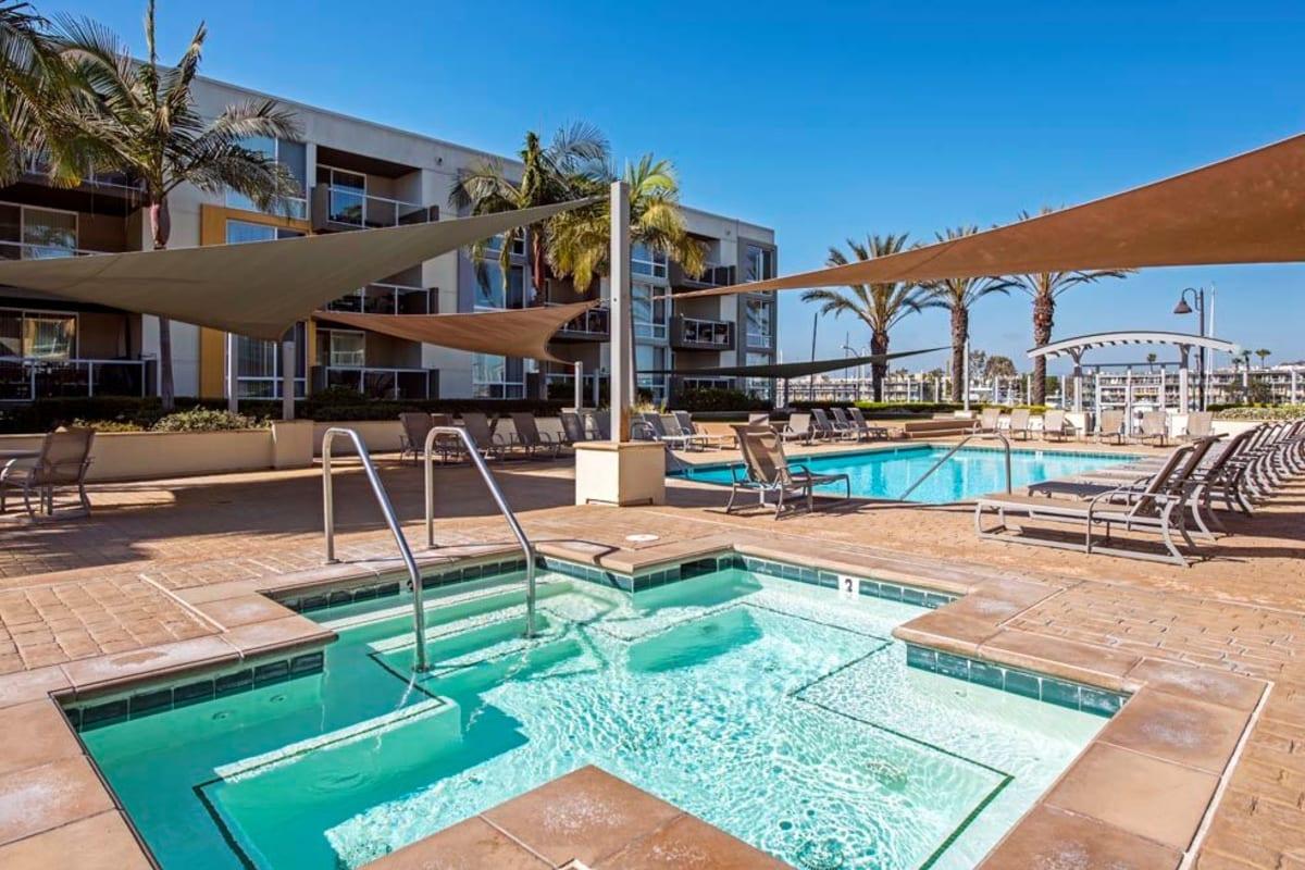 Swimming pool and spa area at The Villa at Marina Harbor in Marina del Rey, California