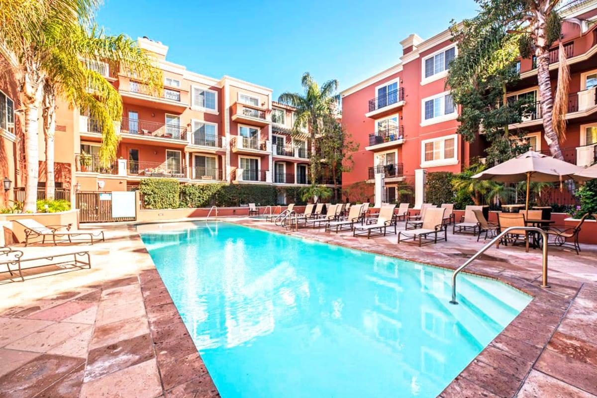 Resort-style swimming pool at The Villa at Marina Harbor in Marina del Rey, California