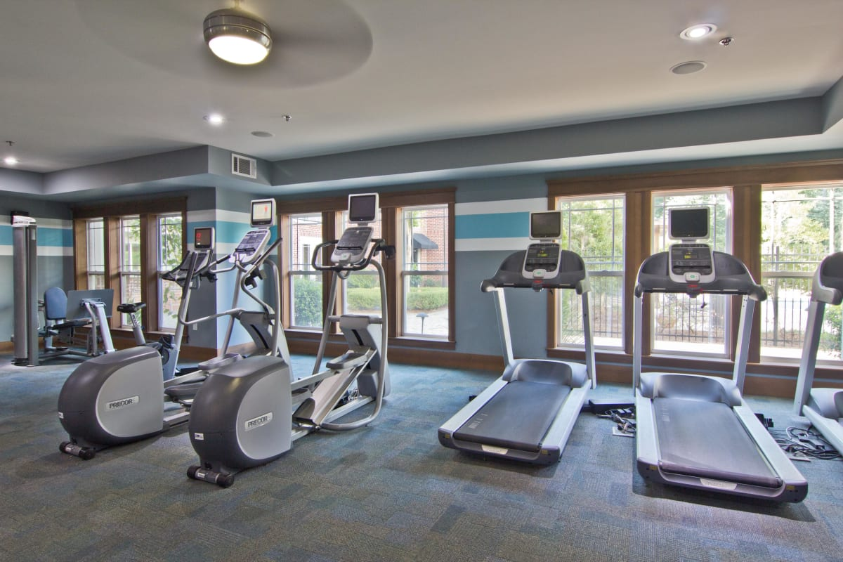 Treadmills and other cardio equipment in the fitness center at Atlas Lavista Hills in Atlanta, Georgia