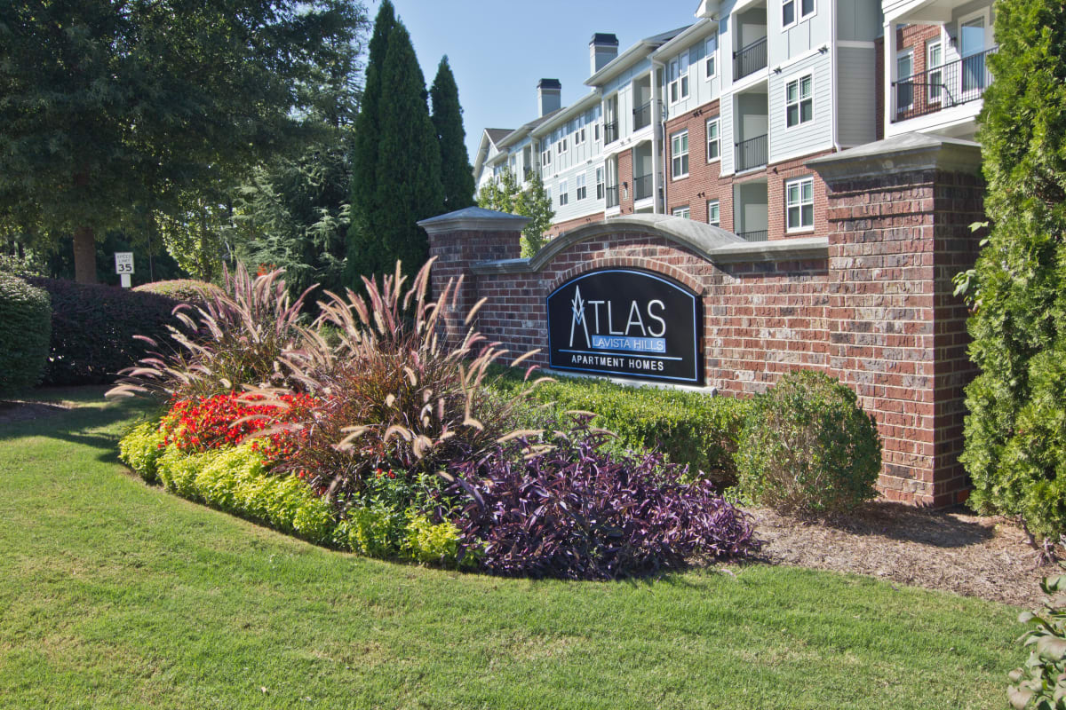 Monument sign welcoming residents and their guests to Atlas Lavista Hills in Atlanta, Georgia