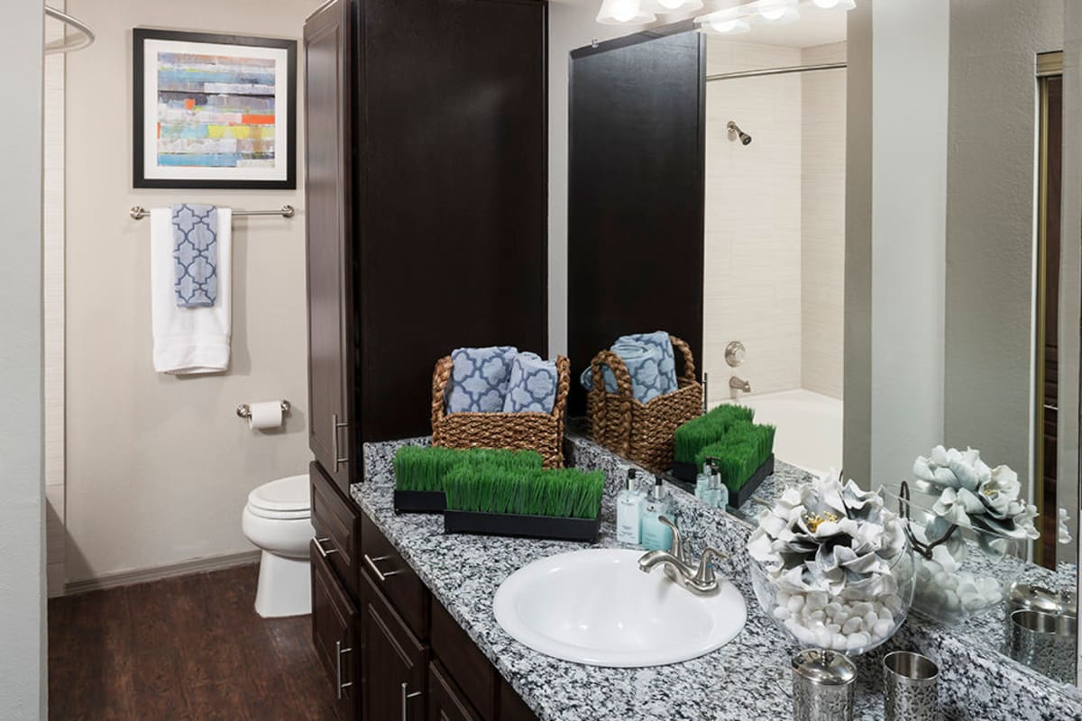 Extra storage and a large vanity mirror in a model home's primary bathroom at Hyde Park at Montfort in Dallas, Texas