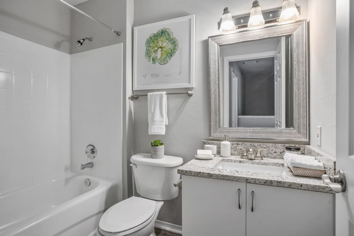 Granite countertop and a tiled shower and bathtub in a model home's bathroom at The Coast of Naples Florida in Naples, Florida