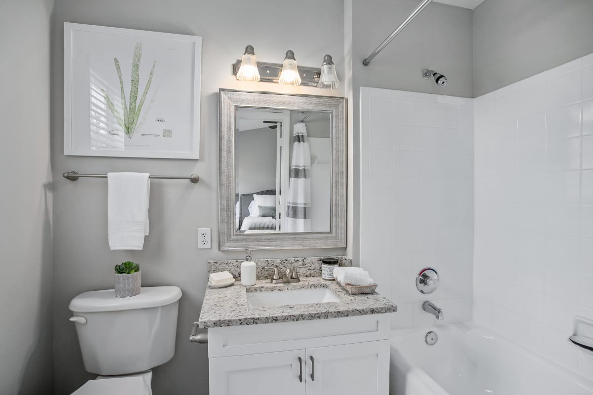 Well-lit guest bathroom with a tiled shower and bathtub in a model home at The Coast of Naples Florida in Naples, Florida