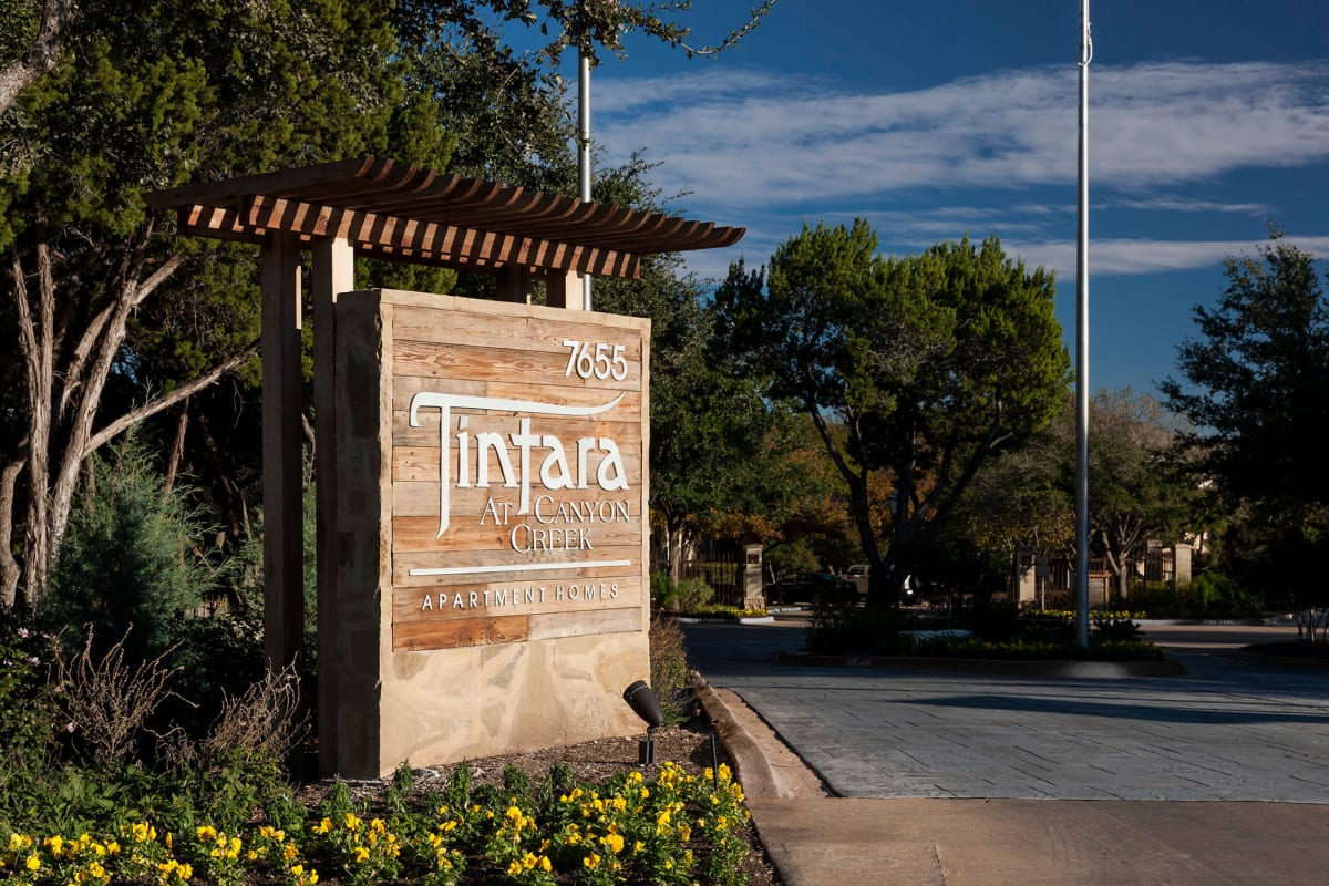 Our monument sign welcoming residents and their guests to Tintara at Canyon Creek in Austin, Texas