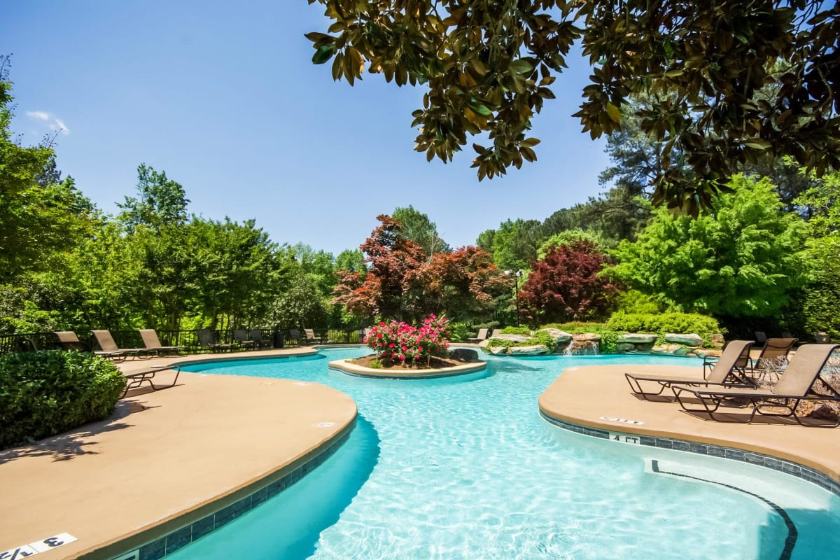 Resort-style swimming pool and mature trees at Park at Vinings in Smyrna, Georgia