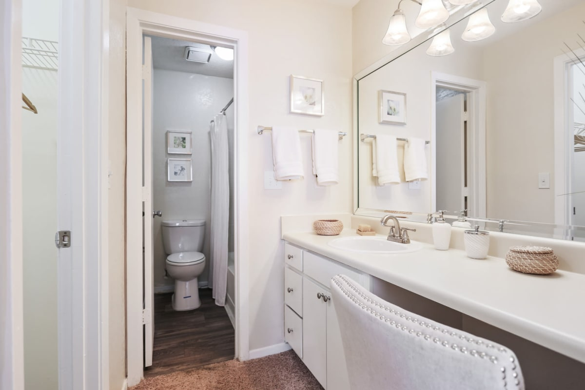Primary bathroom with a large countertop in a model home at Reserve at Peachtree Corners in Norcross, Georgia