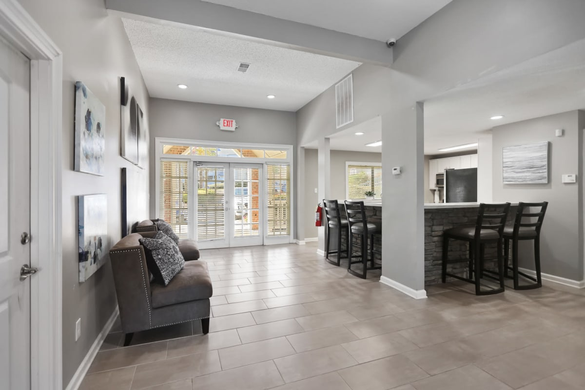 Bright and welcoming lobby interior at Reserve at Peachtree Corners in Norcross, Georgia