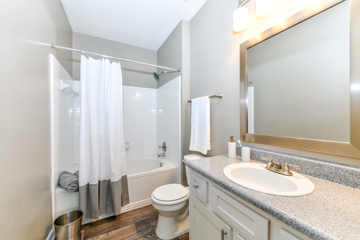 Large vanity mirror and a granite countertop in a model home's bathroom at 860 South in Stockbridge, Georgia