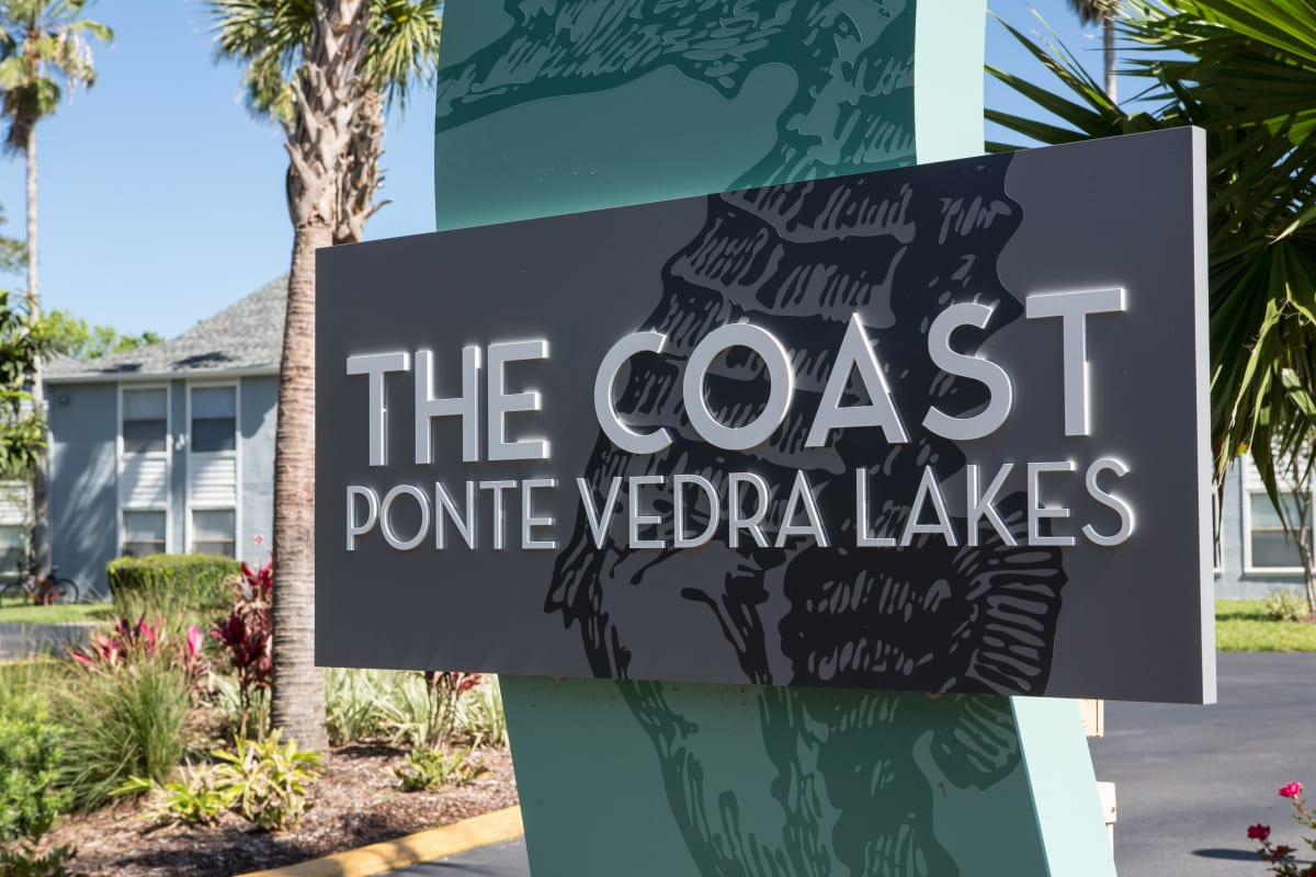 Our sign at the entrance to our luxury community welcoming all at The Coast at Ponte Vedra Lakes in Ponte Vedra Beach, Florida
