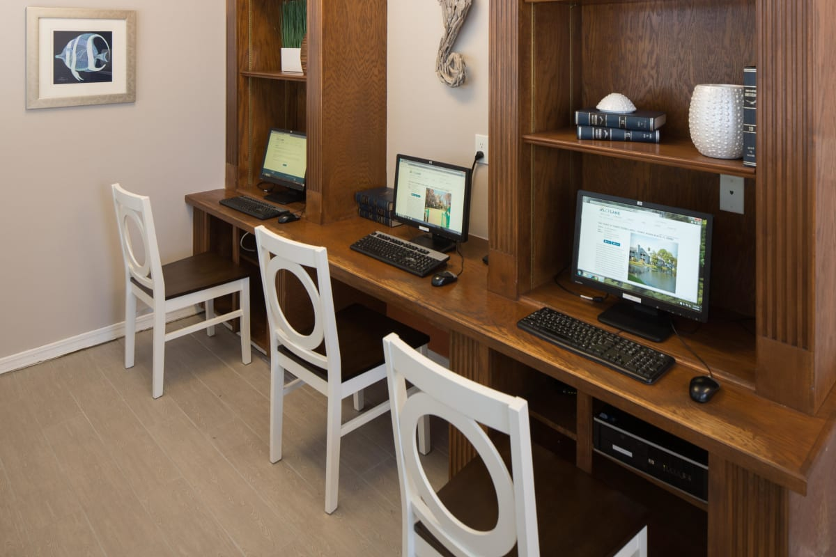 Computer workstations for resident use in the business center at The Coast at Ponte Vedra Lakes in Ponte Vedra Beach, Florida