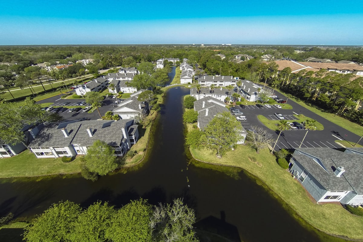 Aerial view of luxury lakeside community at The Coast at Ponte Vedra Lakes in Ponte Vedra Beach, Florida