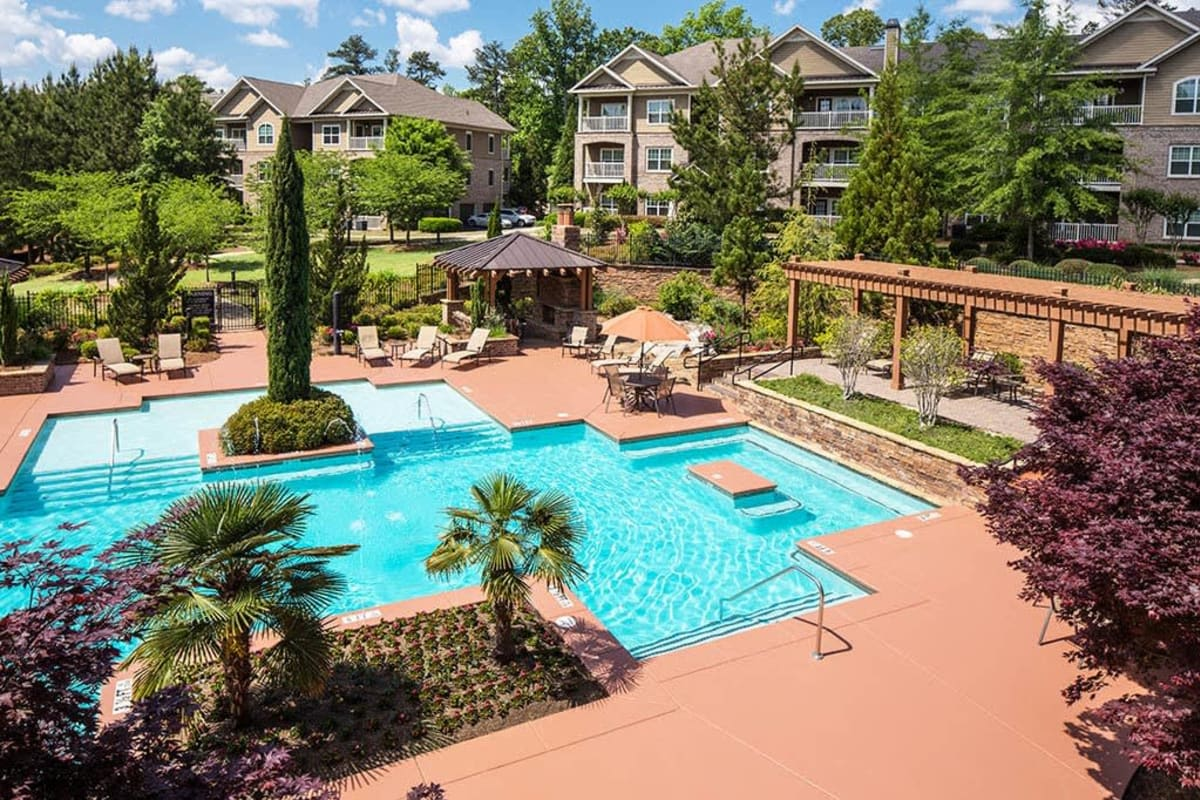 View of the swimming pool area from an upper-floor home at The Preserve at Greison Trail in Newnan, Georgia