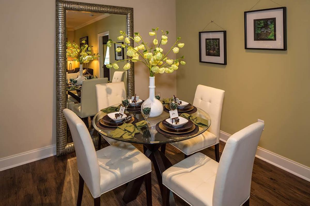 Well-decorated dining area in a model apartment at The Preserve at Greison Trail in Newnan, Georgia