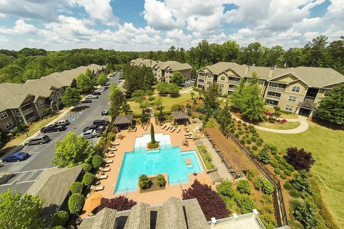 Aerial view of our luxury community at The Preserve at Greison Trail in Newnan, Georgia